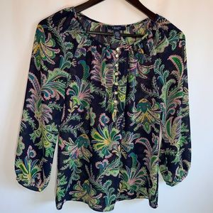 CHAPS Boho Blouse with 3/4 Length Sleeves